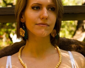 Wooden Floral Necklace with Matching Earrings
