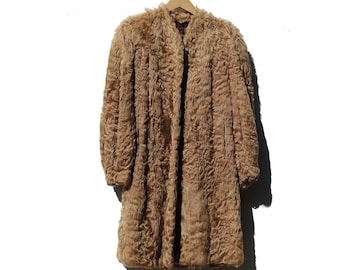 Vintage Brown Lamb Fur Swing Coat