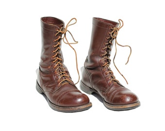 Vintage Men's Burgundy Leather Combat Boots / Burgundy Leather boots / size 10.5