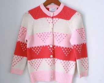 Vintage ladies wool cardigan pink stripes by Joyce size 38 small