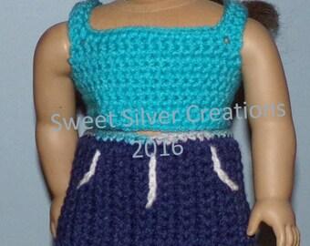 18 inch American Girl Crochet Pattern - Denim Skirt Set