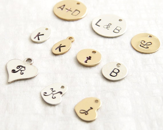 Stamped Tag Add on • Add a Hand Stamped Tag • Personalized Gold Disc Oval or Heart • For Something Blue Necklaces & Bracelets • Custom
