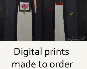 Digital Print. Six Girls & Bird Figure Painting. Wall Art Prints. Wren Bird Print. Art Gift for Women Friends. Red Flowers Print
