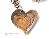 Heart Pendant, Hammered Copper, Romantic Valentines Day Jewelry, Optional Chain Necklace, Rustic Primitive Metalwork