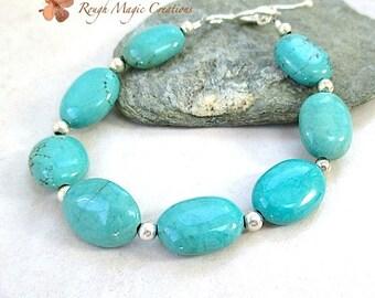 Genuine Turquoise Bracelet. Sterling Silver and Turquoise Gemstones. Aqua Blue Green Semi Precious Stones. Boho Southwestern Jewelry