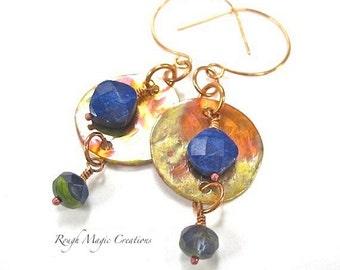 Lapis Lazuli Gemstone Earrings, Dark Blue Stone, Shoulder Duster Earrings, Hammered Copper, Rustic Primitive Boho Jewelry Women Gift for Her