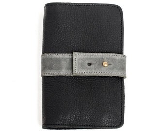 Black leather wallet with Grey strap for women, Minimalist wallet case, Notebook leather wallet, Rectangular wallet, Handmade cool wallet,