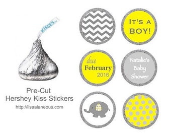 Yellow and Gray Elephant Baby Shower Favor - 88 Hershey Kiss Labels  - Stickers for Candy Kisses