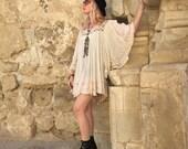 Boho Mini Dress // Cream Gypsy Dress // Gauze Mexican // Festival Fashion // Hippie Clothes // Bohemian Clothing // Angel Sleeve // XS SMALL