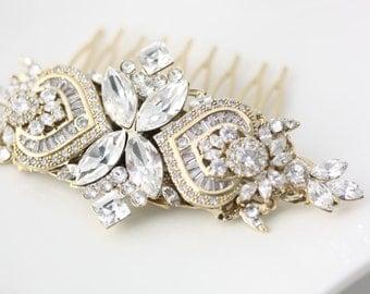 Bridal Comb Rhinestone Headpiece Gold Comb Crystal Hair Comb Wedding Hair Accessories Swarovski Veil Comb EVIE