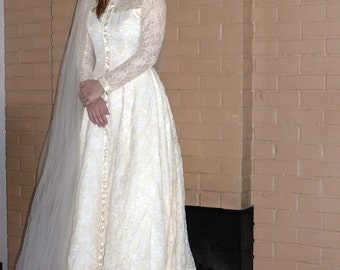 Victorian Style Wedding Gown with Train Satin - Lace - William Cahill Vintage