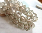 Grey golden czech glass beads, english cut , faceted round geometric nugget shape,  lustered finish 10mm / 10 beads  6AZ0803