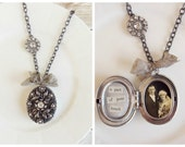 Shabby Romantic Tattered Rhinestone Ornate Locket Necklace