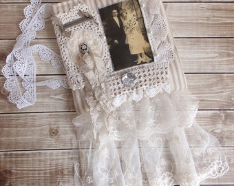 Shabby Tattered Chic Wedding Embroidery Cream Lace Romantic Ditty Tote Bag