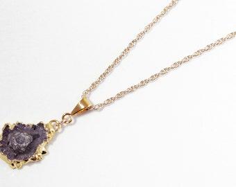 Rare Stalactite Pendant Small Amethyst Pendant February Birthstone Raw Stone Pendant Gold Edge One of a Kind ST-P-113-012g