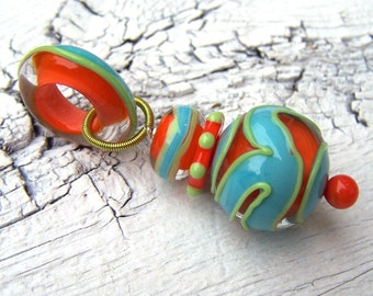 Stacked Lampwork Pendant - orange, turquoise, lime - SRA AutEvDesigns, ISGB
