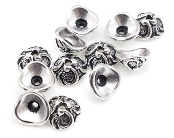 Antique Silver Bead Caps Silver Beadcaps TierraCast LILY Caps Whimsical Medium Size Jewelry Bead Caps for Jewelry Making Woodland (PC101)