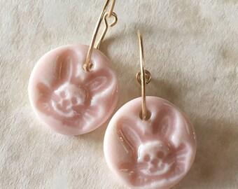 Soft Pink Bunnies Porcelain Earrings-Easter Earrings-Porcelain Bunnies-Pink Rabbit Earrings-Ceramic Rabbit-Handcrafted Porcelain-Easter