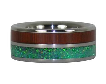 Padauk and Green Opal Titanium Ring