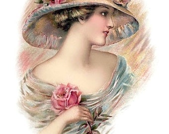 Victorian Lady Pastel Roses Hat Reproduction Fabric Crazy Quilt Block Free Shipping World Wide