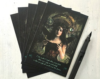 "SET OF 5 POSTCARDS - ""Joy In Melancholy"" 4 x 6 cards, postcards, post cards, fantasy, books, steampunk, poetry, vintage"