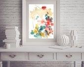 "Watercolor painting, abstract original art ,beautiful floral watercolor painting, botanical art  11.7"" x 16.5"" inches"