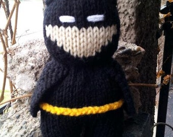 Hand Knit Batman in Black Suit - 8 inches tall -soft stuffed toy doll