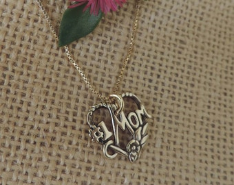 "Vintage "" #1 Mom "" Heart Pendant, Mothers Day"