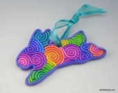 Rainbow Easter Bunny Ornament in Pastel Fimo Filigree