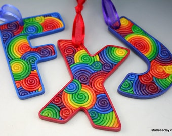 Custom Letter Ornament in Rainbow Fimo Filigree Polymer Clay Monogram