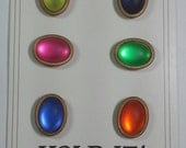 Vtg Hold It large colorful button covers cabachons on brass 6 still on card