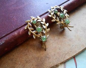 antique austrian white wedding flower brooch - pearls, white enamel and AB rhinestone pin
