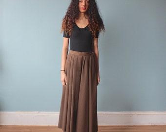 brown maxi skirt / full pleated chocolate skirt / 1980s / small