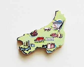 Dyfed Wales Brooch - Lapel Pin / Unique Wearable History Gift Idea / Upcycled 1960s Wood Puzzle Piece / Timeless Gift Under 20