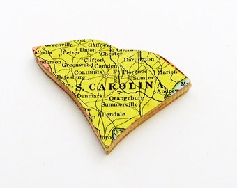 South Carolina Brooch - Lapel Pin / Unique Wearable History Gift Idea / Upcycled 1940s Straus Wood Puzzle Piece / Timeless Gift Under 25