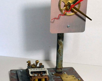 Steam heat thermostat desk clock recycled