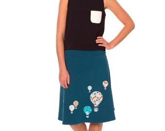 Jersey midi skirt, A line skirt, Women skirts midi, Fold over waist jersey skirt, Pull on knit skirt, Skirt jersey- Hot air balloons