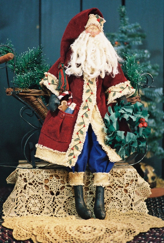 Mailed Cloth Doll Pattern 24in Old World Santa Doll