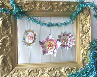 3 Upcycled Christmas ornaments vintage metallic foil reflector mercury glass garland wreath ornament gift tag flower shape  Mid Century G7