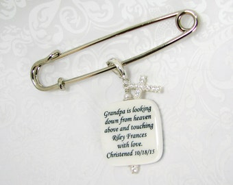 Christening, Baptism, Memorial Photo Pin with a Cross Charm - BPP2Ra