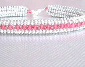 swarovski crystal bracelet pink beaded jewelry sterling silver bead bangle pink crystals seed bead bracelet