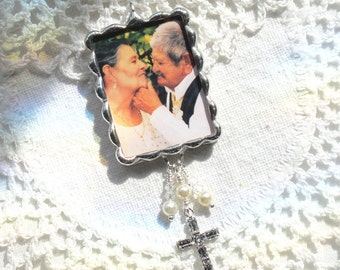 Custom Photo & Quote Bouquet Charm with Rhinestone Cross, Crystals and Pearls in Silver