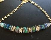 Black Opal Bar Necklace Minimalist Jewelry Boho Chic Opal Bar Necklace October Birthstone Jewelry