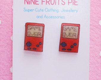 Retro Gamer Hand Held Console Earrings Studs - Red and Blue
