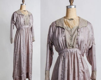 SALE- Antique Silk Gown . Lilac Dress . Lace . Pre 1910s