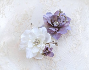 bridal hair clip, bridal hairpiece flower, lavender hair accessories, wedding headpiece, bridal head piece, wedding hair pins, rhinestones,