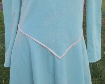 Vintage , retro  Dalton, wool dress, long sleeves, pale blue color, size 12