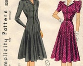 1940s Simplicity 3268 Vintage Sewing Pattern Junior Misses Princess Dress, Afternoon Dress Size 15 Bust 33