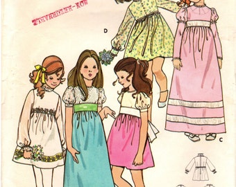 1970s Butterick 6063 Vintage Sewing Pattern Girl's Party Dress, Formal Dress Size 12