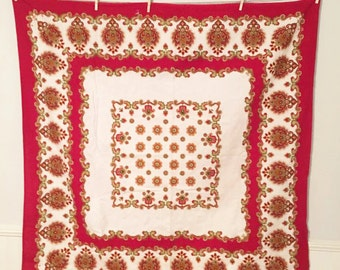 Vintage Tablecloth, Vintage Printed Tablecloth, Red Tablecloth, Mandala Tablecloth, Vintage Bohemian Tablecloth, Red Indian Tablecloth